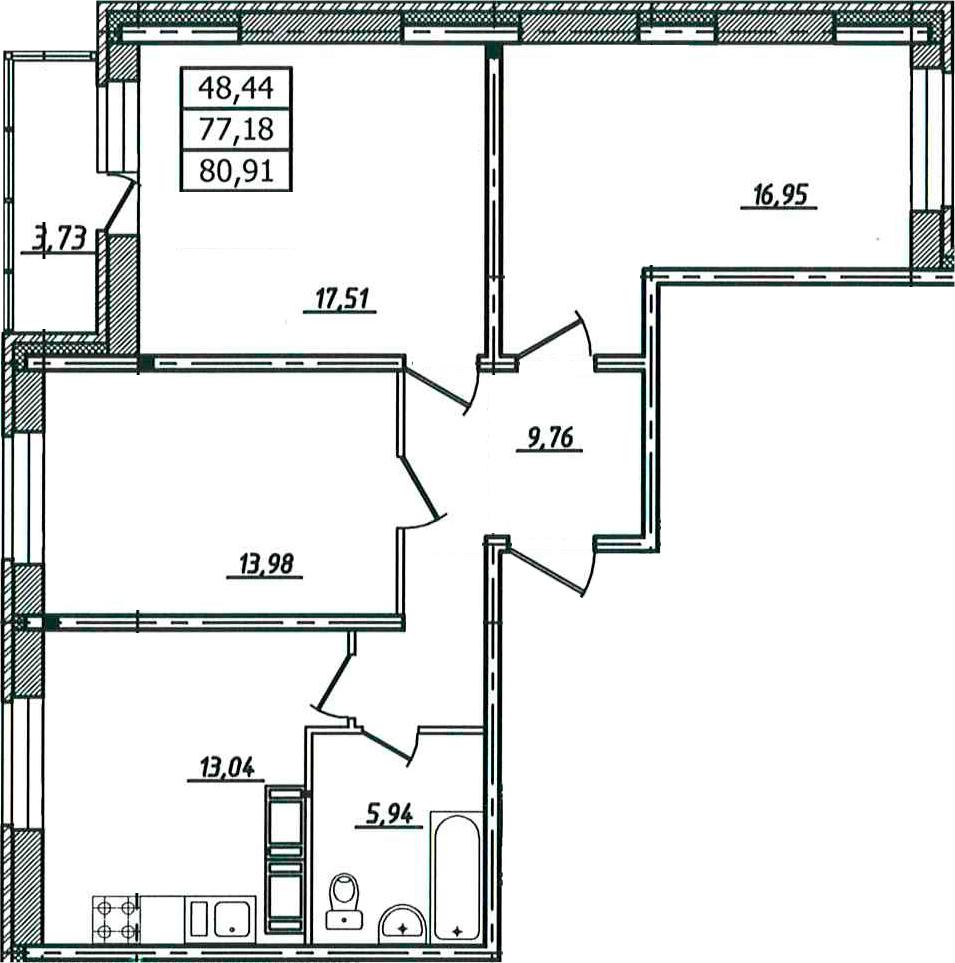 3-к.кв, 80.91 м²