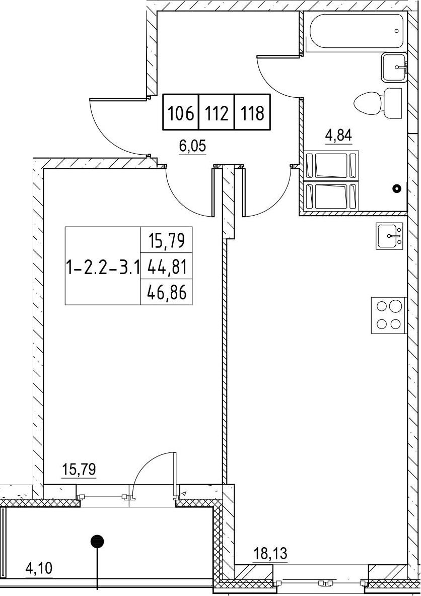 2-комнатная 48 м<sup>2</sup> на 19 этаже