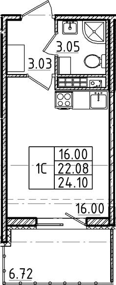 Студия 28 м<sup>2</sup> на 5 этаже