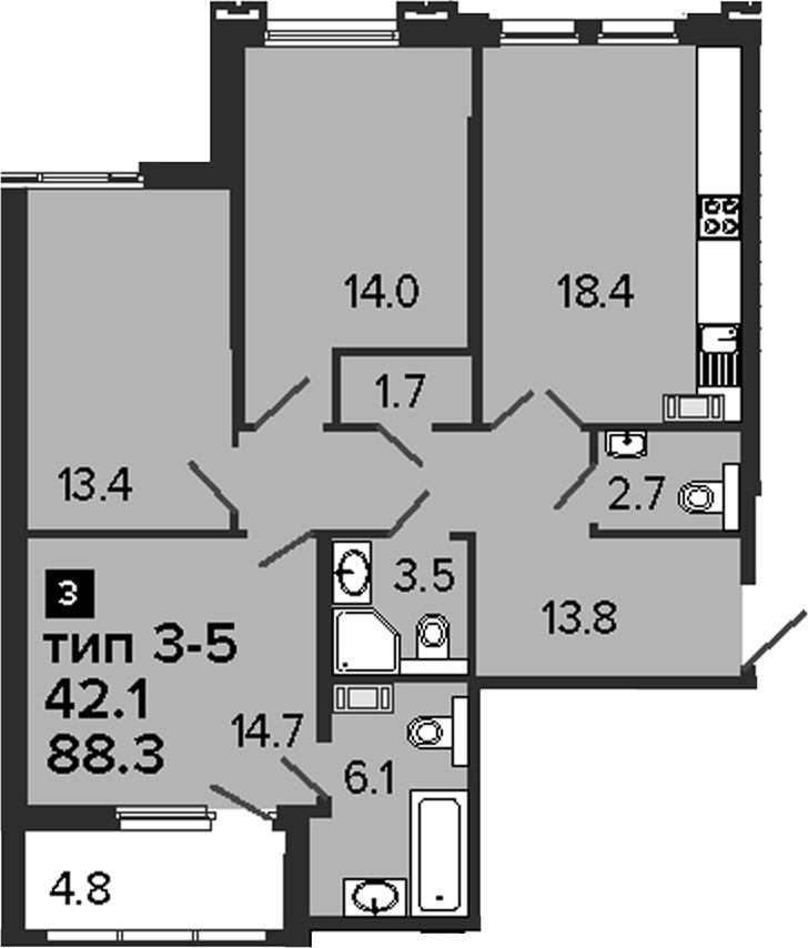 3-комнатная 93 м<sup>2</sup> на 8 этаже