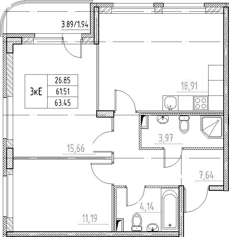 3-к.кв (евро), 64.47 м²