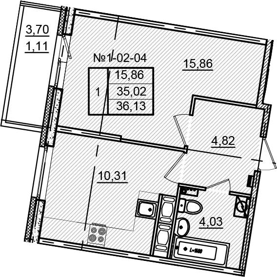 1-к.кв, 38.72 м²