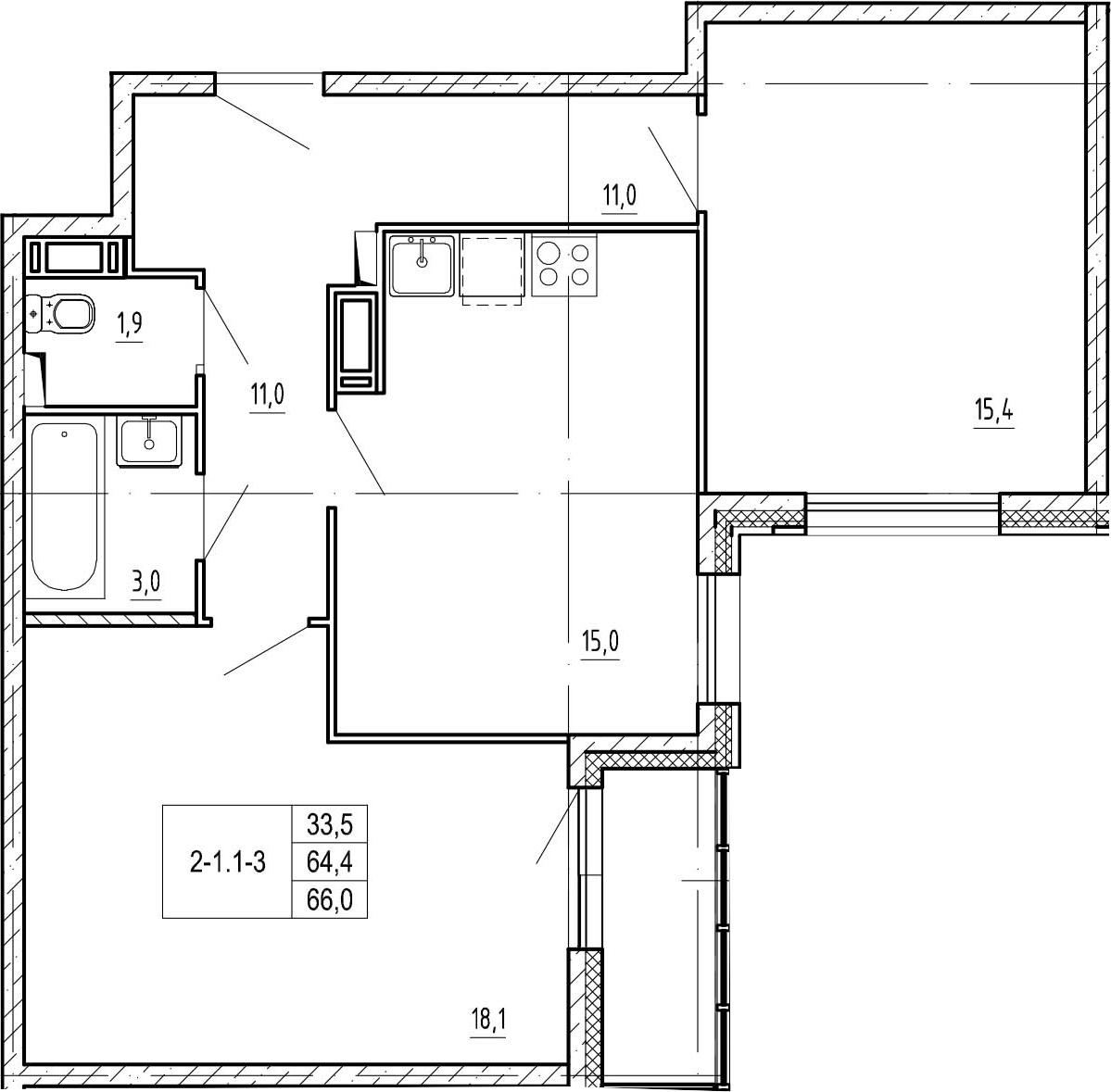 2-к.кв, 67.6 м²