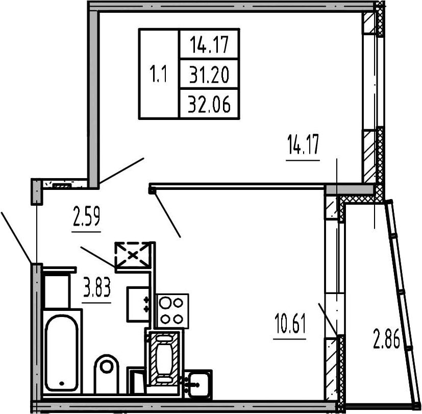 1-к.кв, 34.06 м²