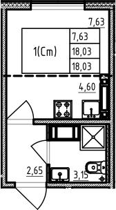 Студия 18 м<sup>2</sup> на 17 этаже