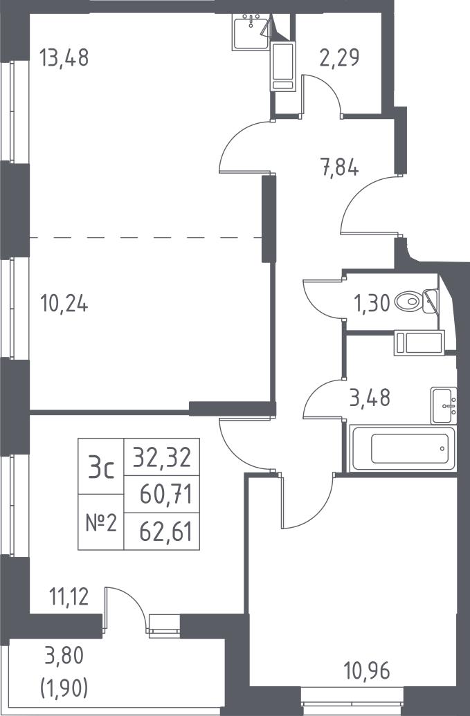 3-к.кв (евро), 64.51 м²