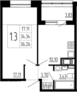 1-к.кв, 38.17 м²