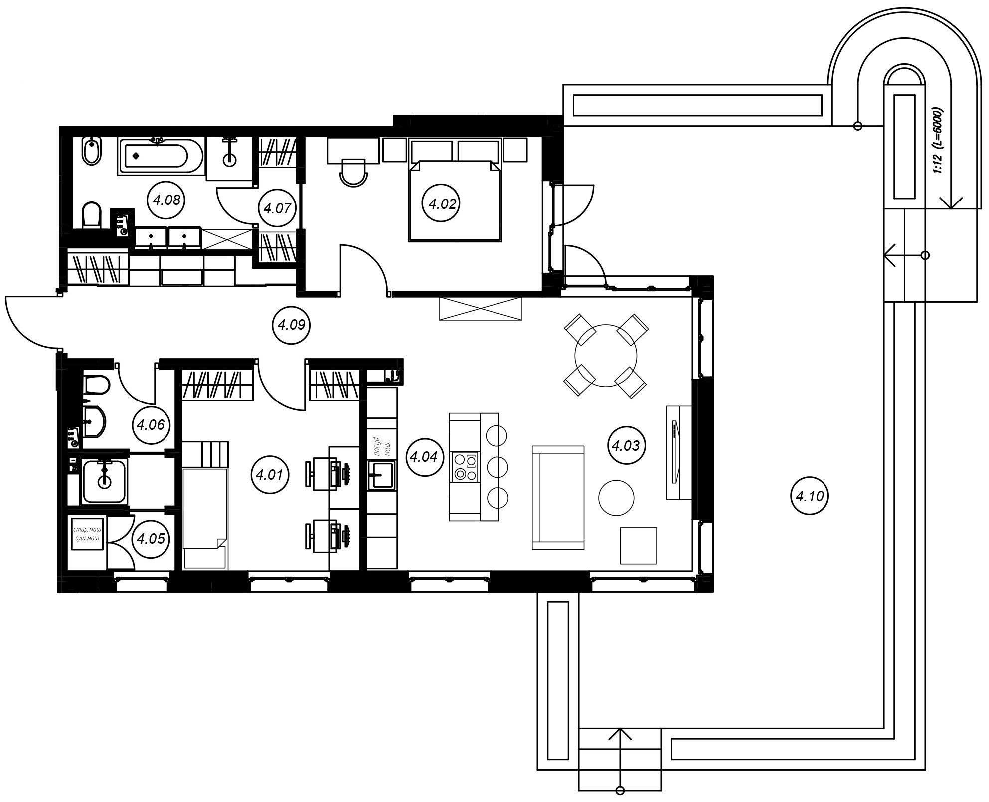 3-комнатная 140 м<sup>2</sup> на 1 этаже