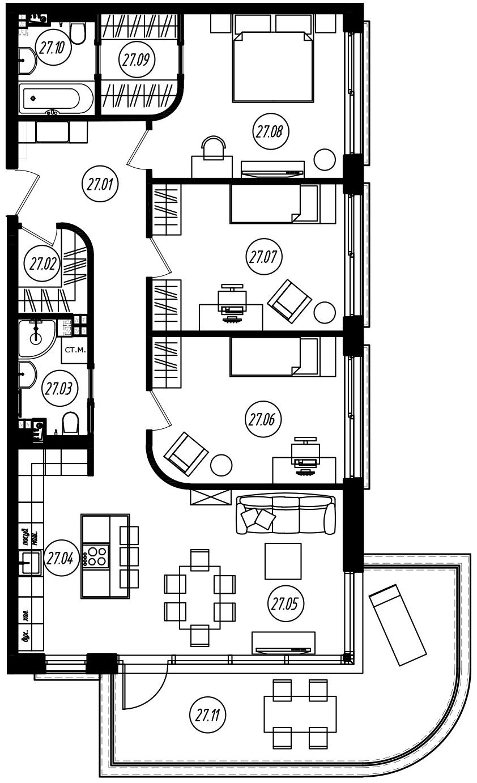 4-комнатная 118 м<sup>2</sup> на 3 этаже