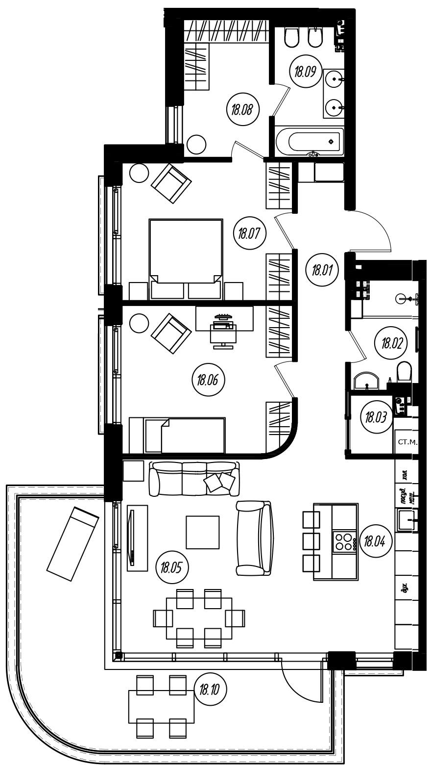 3-комнатная 115 м<sup>2</sup> на 2 этаже