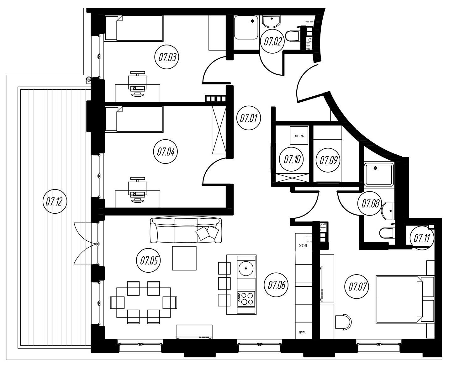 4-комнатная 94 м<sup>2</sup> на 3 этаже