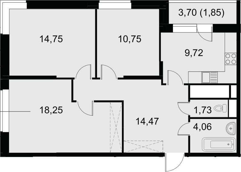 3-к.кв, 77.43 м²