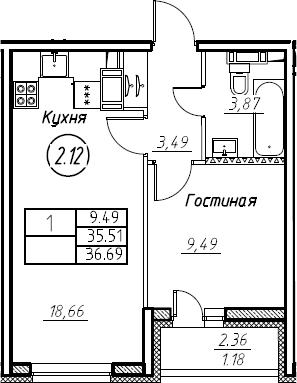 2-комнатная 37 м<sup>2</sup> на 17 этаже