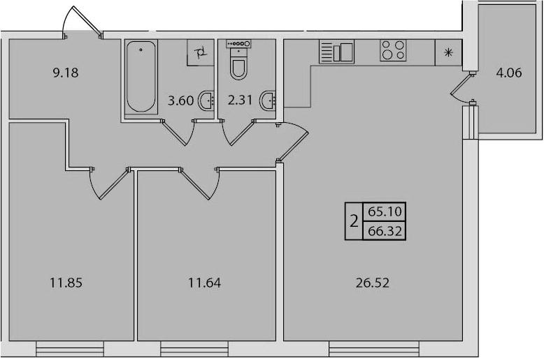 3-к.кв (евро), 69.17 м²