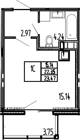 Студия, 26.1 м²