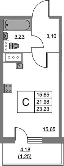 Студия 26 м<sup>2</sup> на 19 этаже