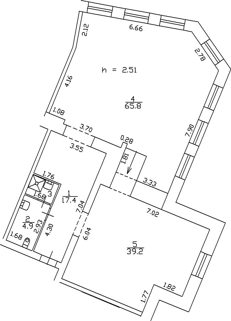1-комнатная 129 м<sup>2</sup> на 3 этаже