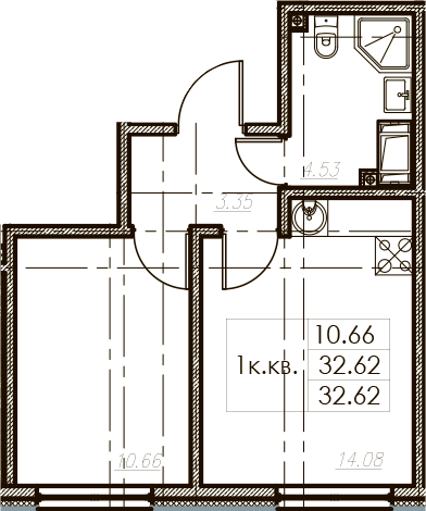 1-комнатная 32 м<sup>2</sup> на 25 этаже