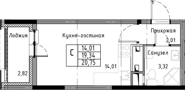 Студия, 22.16 м²