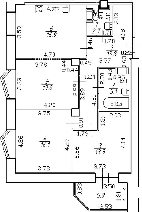 4-комнатная 87 м<sup>2</sup> на 15 этаже