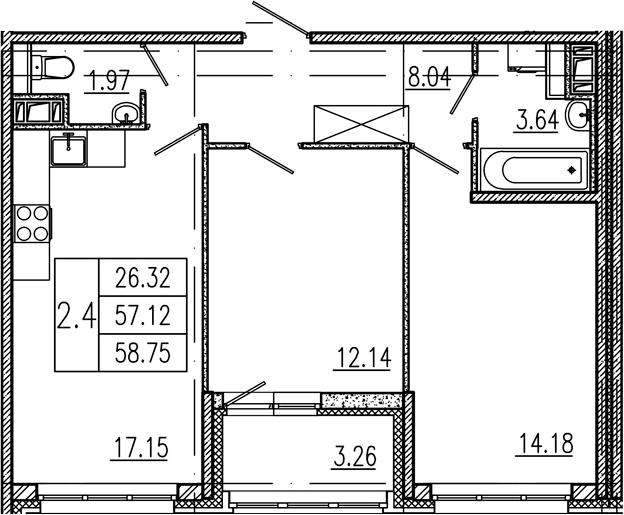 3-комнатная 60 м<sup>2</sup> на 9 этаже