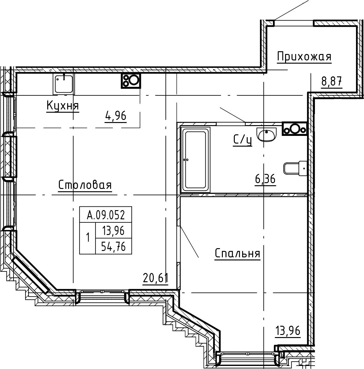2-комнатная 54 м<sup>2</sup> на 9 этаже