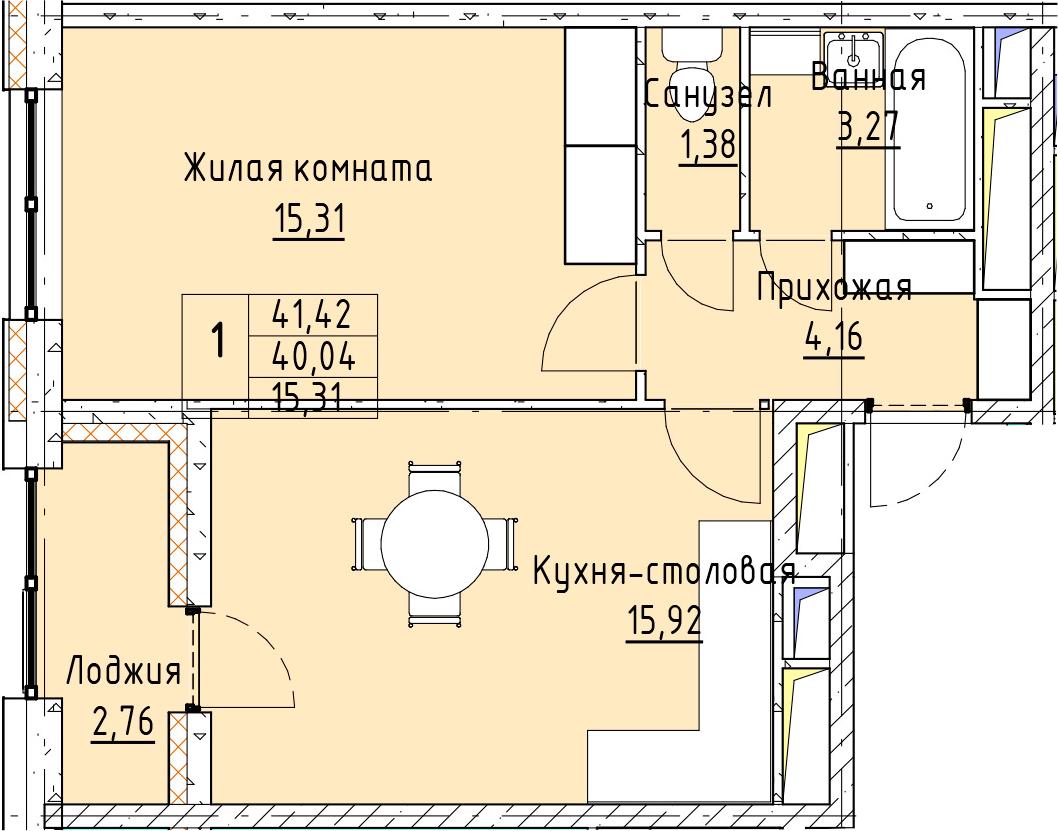 2-к.кв (евро), 42.8 м²