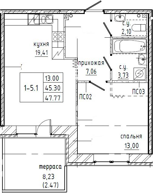 1-комнатная 53 м<sup>2</sup> на 1 этаже