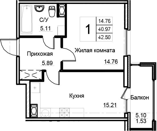 2-комнатная 46 м<sup>2</sup> на 7 этаже