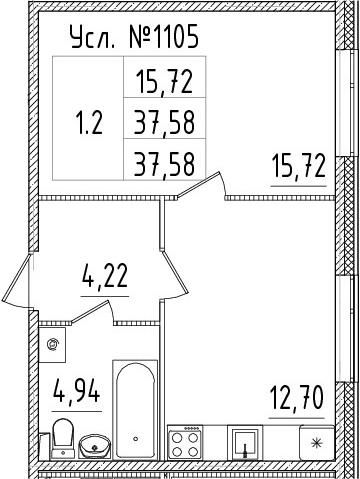 1-к.кв, 37.58 м²