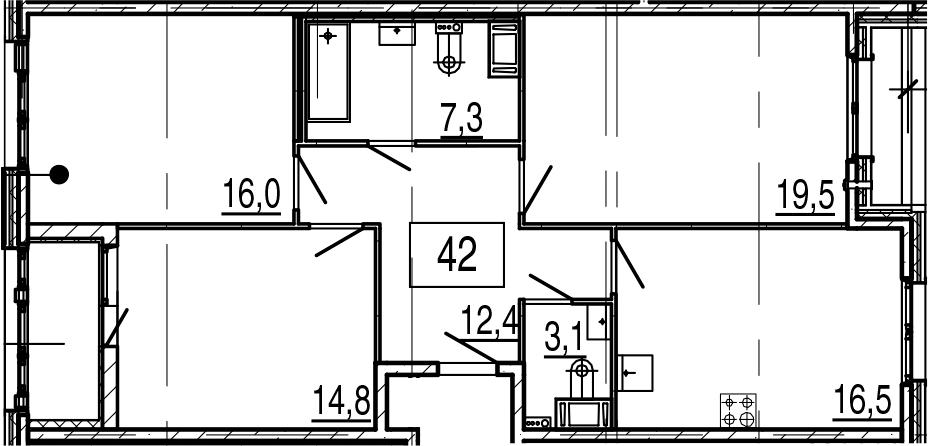 4-комнатная 93 м<sup>2</sup> на 2 этаже