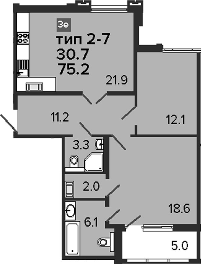 3-комнатная 80 м<sup>2</sup> на 8 этаже