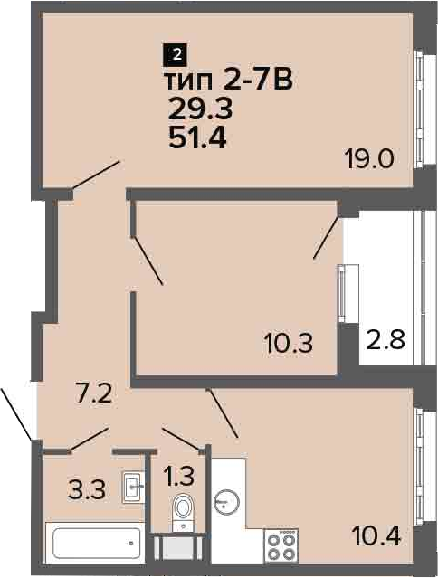 2-комнатная 54 м<sup>2</sup> на 10 этаже