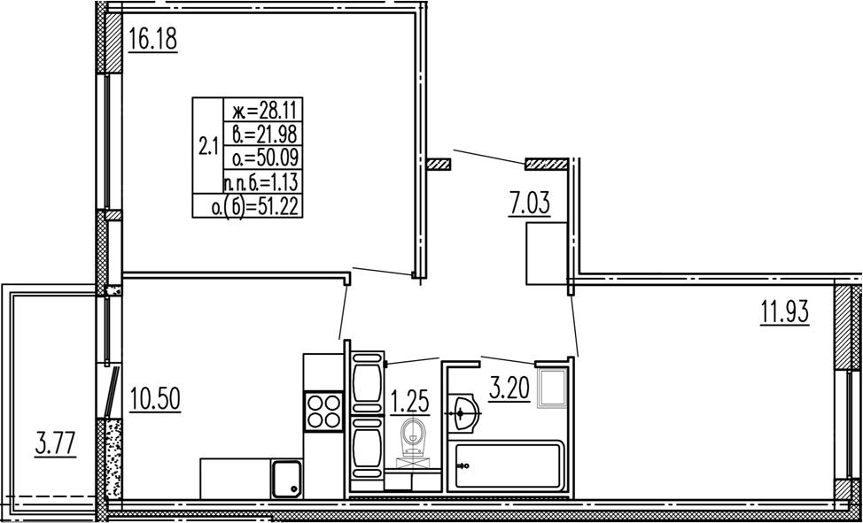 2-к.кв, 53.86 м²
