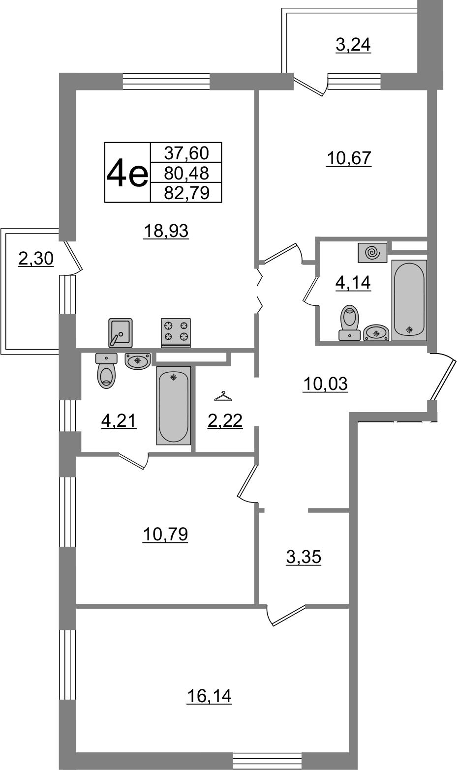 4-комнатная 86 м<sup>2</sup> на 2 этаже