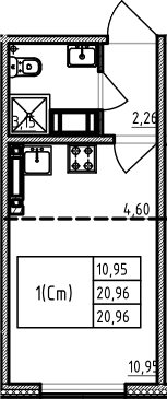 Студия 20 м<sup>2</sup> на 18 этаже