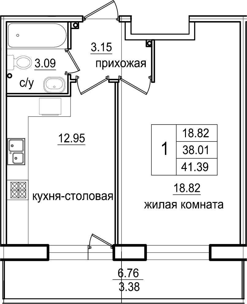 1-комнатная 44 м<sup>2</sup> на 2 этаже