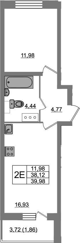 2-комнатная 41 м<sup>2</sup> на 22 этаже