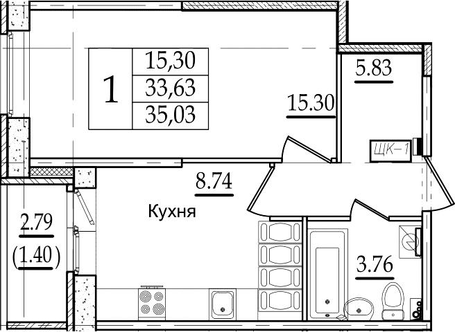 1-комнатная 36 м<sup>2</sup> на 22 этаже
