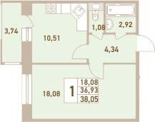 1-комнатная 40 м<sup>2</sup> на 7 этаже