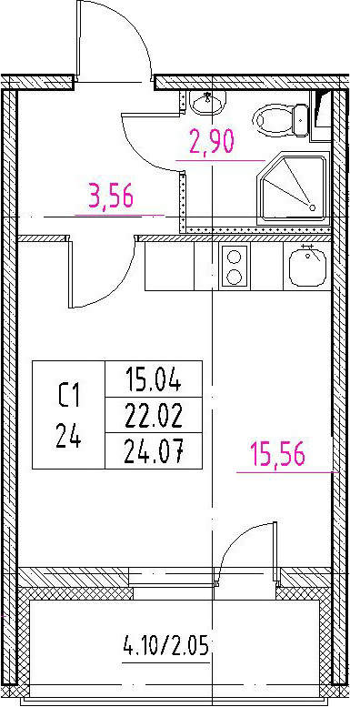 Студия, 26.12 м²