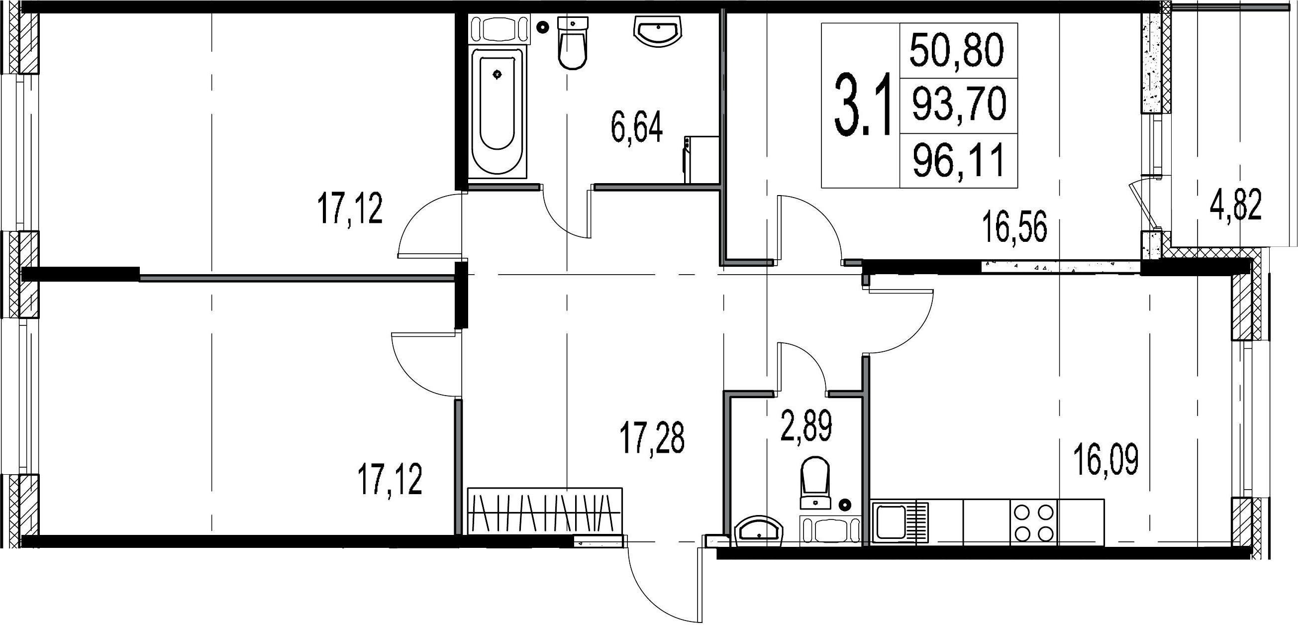 4-комнатная 98 м<sup>2</sup> на 7 этаже