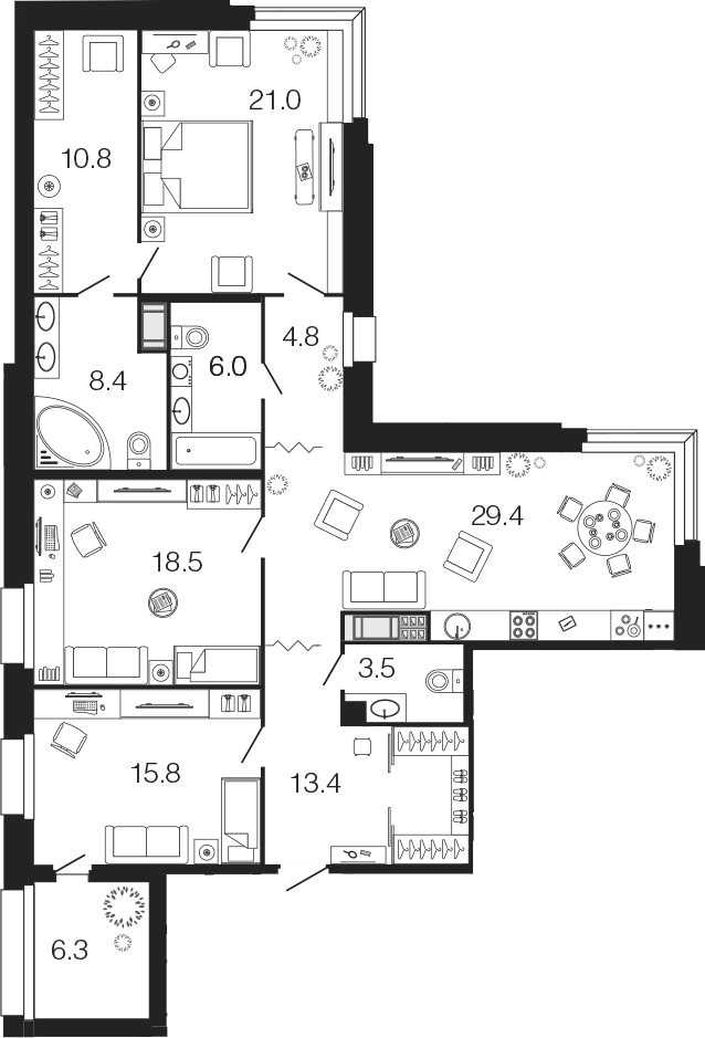 4-комнатная 137 м<sup>2</sup> на 7 этаже
