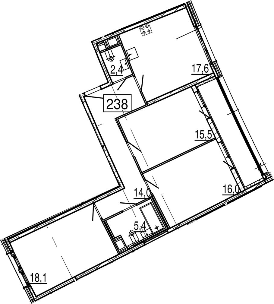 4-комнатная 96 м<sup>2</sup> на 10 этаже