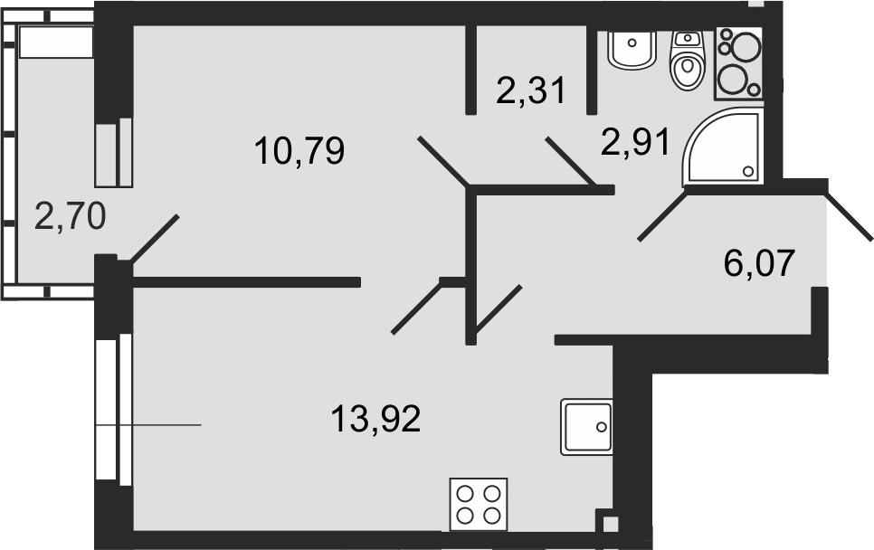 1-комнатная 38 м<sup>2</sup> на 13 этаже