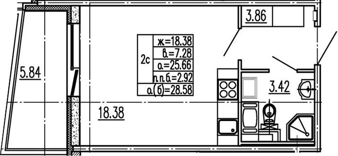 Студия 31 м<sup>2</sup> на 2 этаже