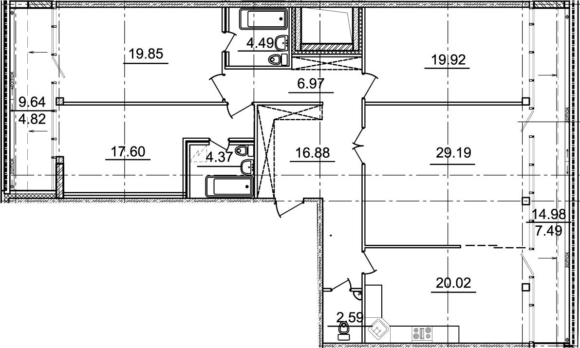 4-комнатная 166 м<sup>2</sup> на 20 этаже