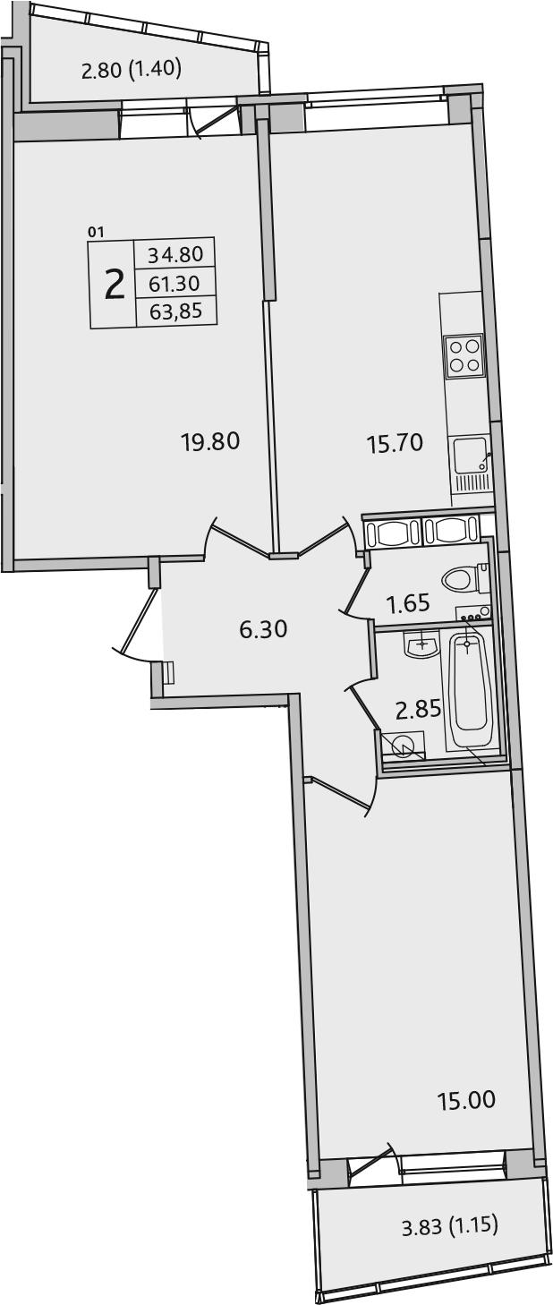 3-комнатная 67 м<sup>2</sup> на 10 этаже