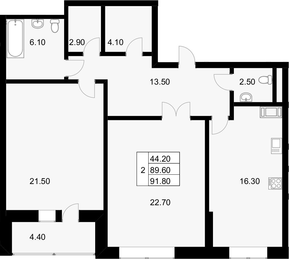 2-к.кв, 94 м²