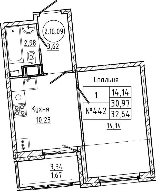 1-комнатная 34 м<sup>2</sup> на 16 этаже
